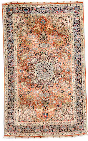 A silk Mashed silk rug, North East Persia, circa 1950, 202cm x 122cm (6ft 8in x 4ft) excellent condition, signed