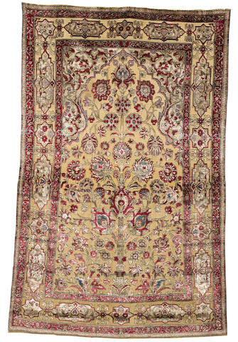 A part silk Kashan souf rug, Central Persia, circa 1890, 197cm x 127cm (6ft 6in x 4ft 2in) good condition