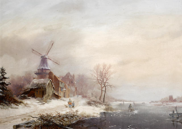 Frederik Marinus Kruseman (Dutch, 1816-1882) Winter landscape with hamlet, windmill and figures