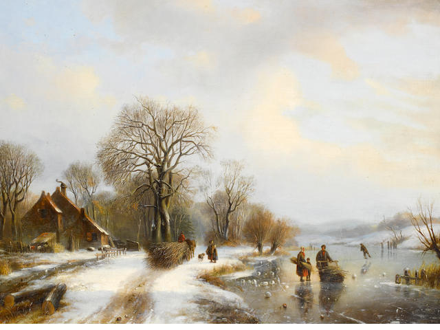 Willem Vester (Dutch, 1824-1895) Winter landscape with figures