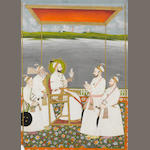 The Mughal Emperor Muhammad Shah (reg. 1719-1748) receiving four courtiers, including Sa'adat Khan of Oudh, the group depicted under a canopy on a palace terrace overlooking a river, the ruler presented with a falcon Mughal, mid-18th Century