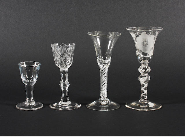 A Jacobite wine glass and three other glasses Circa 1750-60.