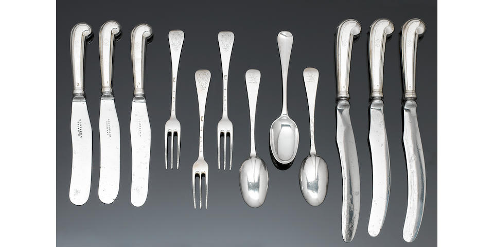 A George I silver Hanoverian pattern table service of flatware, London 1712 - 1724,  (84)