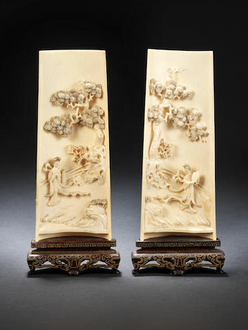 A pair of ivory concave 'landscape' plaques Late Qing Dynasty