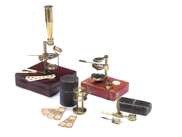 A Mackenzie Gould-type microscope,  English,  circa 1840,  (4)