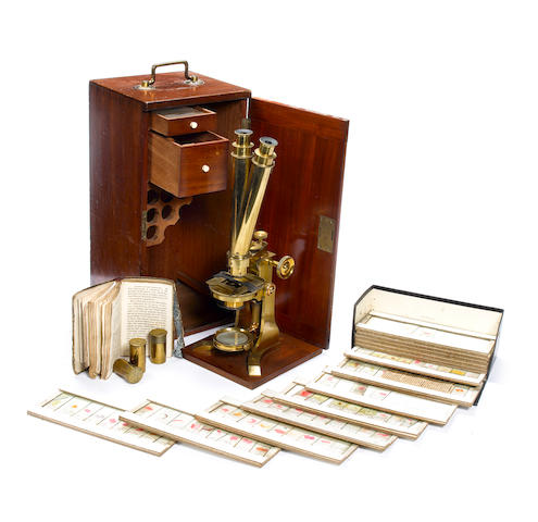 A Charles Baker brass binocular microscope,  English,  late 19th century,  (qty)