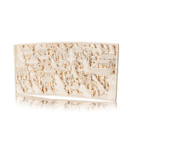 Two carved ivory plaques  Each engraved with Qianlong Zhuanshu script marks