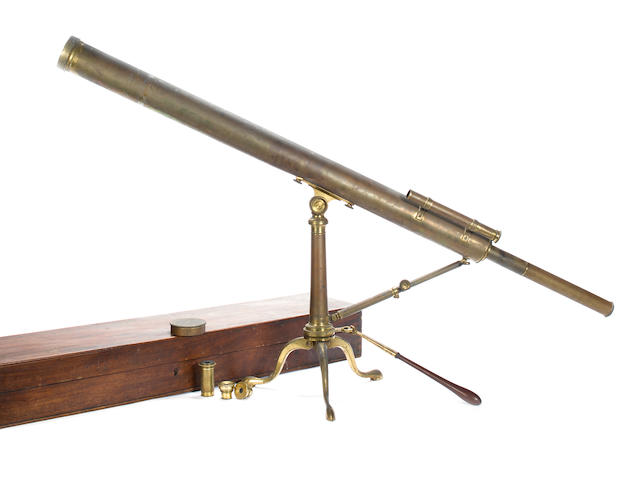 A W & T Gilbet 2-1/2 inch brass refracting telescope on stand,  English,  early 19th century,