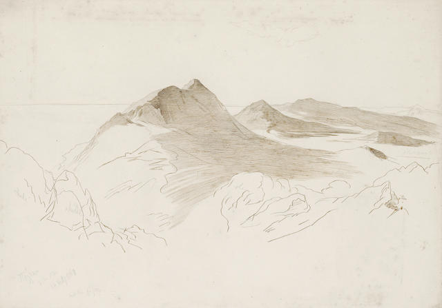 Edward Lear (British, 1812-1888) Mountainous coastline, Corfu