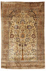 A Kashan silk prayer rug, Central Persia, circa 1890, 6 ft 6 in x 4 ft 3 in (197 x 130 cm) good condition throughout, some very minor losses at each end