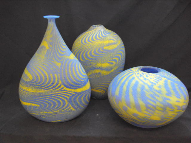 Three modern coloured glass vases