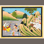 A scene from the Bhagavata Purana: Krishna and Balarama rescuing a cowherd from a horned demon, the cowherds with their herd applauding from the right Pahari, mid-19th Century