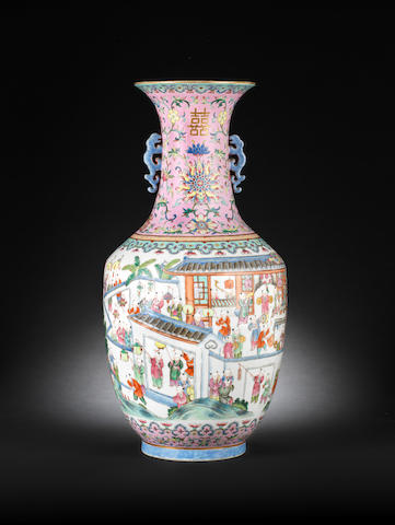 A fine large famille rose baluster two-handled vase Daoguang seal mark and of the period