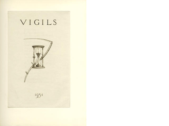 SASSOON (SIEGFRIED) Vigils, NUMBER 150 OF 272 COPIES, SIGNED BY THE AUTHOR