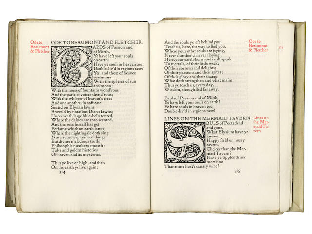 KELMSCOTT PRESS [KEATS (JOHN) The Poems]