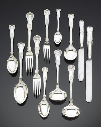 A silver King's pattern table service of flatware, various makers, London 1918 / Sheffield 1974/5,  (87)