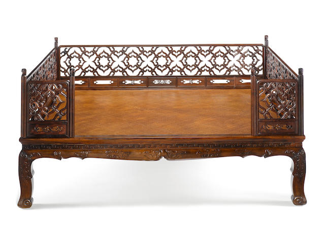 A rare huanghuali and hardwood bed, luohanchuang 17th-18th century