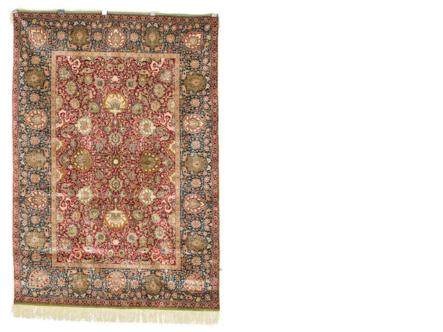 A silk and metal thread Zareh Penyamin Kum Kapi rug, Istanbul, Turkey, circa 1910, 6 ft 4 in x 4 ft 5 in (193 x 135 cm) signed, excellent condition