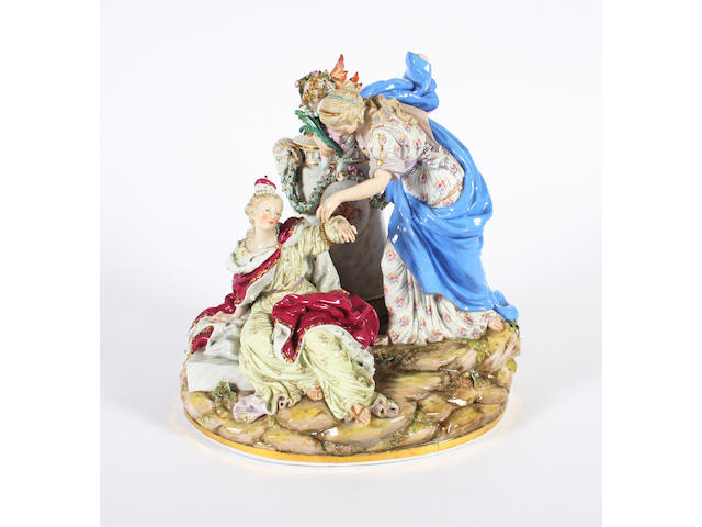 A large Meissen figure group Late 19th Century.