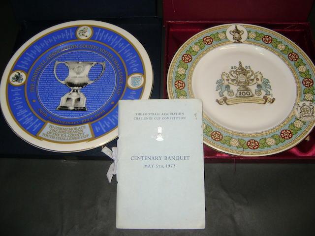 Football Association Centenary commemorative plates and menu