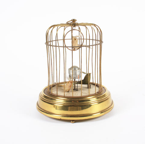 An unusual musical birds-in-cage timepiece, German, circa 1950,