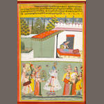 Vasant ragini: Krishna presented with a vase of flowers during the Holi season, surrounded by female musicians, dancers and a maiden spraying dye, a female attendant preparing a bed-chamber in the background Amber, circa 1700