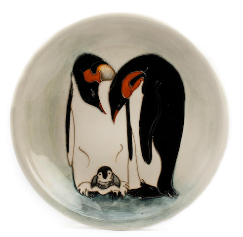 Two limited edition Moorcroft 'Penguin' pattern plates, designed by Sally Tuffin Circa 1990