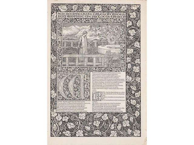 KELMSCOTT PRESS Cancelled proof bifolium of the first text page of the Kelmcott Chaucer