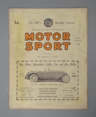 A rare issue of Motor Sport; Vol 5, No 1, (October-November 1928),