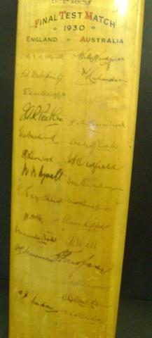 A 1930 cricket bat, hand signed by England/Australia Test teams