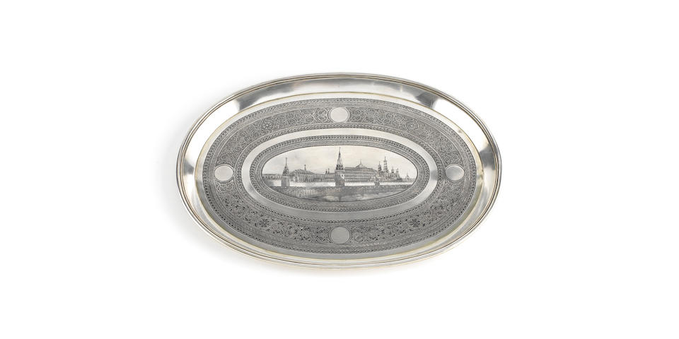 A 19th century Russian silver and niello salver
