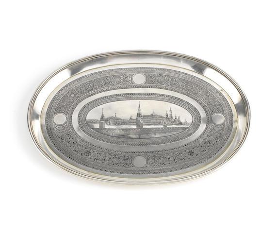 A 19th century Russian silver and niello salver