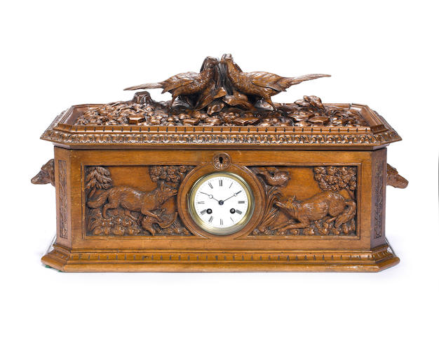 A fine key-wind timepiece-actuated Black Forest musical box
