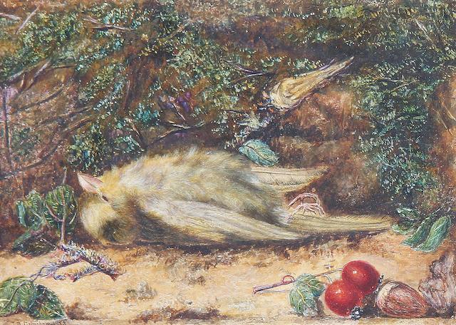 John Atkinson Grimshaw (British, 1836-1893) A fallen greenfinch