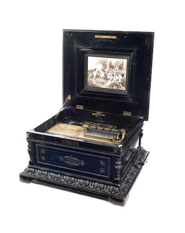 A good ebonised Polyphon 15.3/4-inch disc musical box, circa 1900,