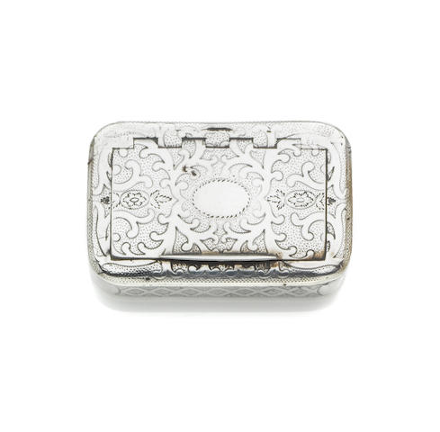 A George III silver  snuff box,  by John Shaw,  Birmingham 1807 and a quantity of silver boxes and cases  (7)