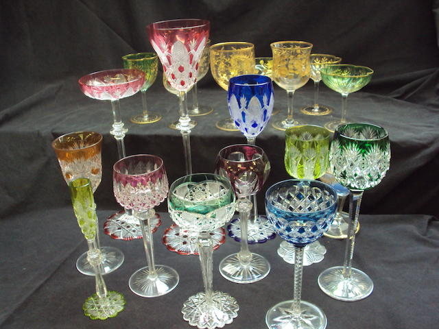 A mixed collection of coloured glassware
