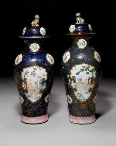 Pair of 18th century Chinese export vases and covers