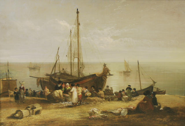 Alfred Priest (British, 1810-1850) Fishmarket with figures and vessels on the beach