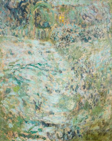 Henri  Le Sidaner (1862-1939) Escalier dans le jardin - sans la neige à Gerberoy