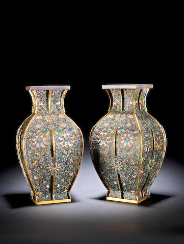A pair of champlevé and cloisonné enamel vases  Jiaqing