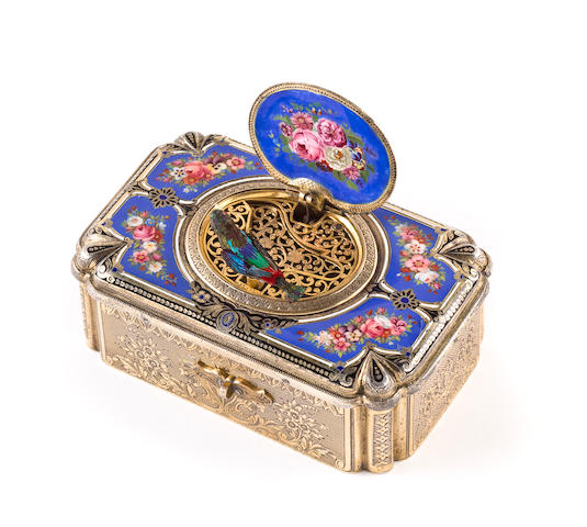 A fine silver-gilt and enamel singing bird box, by C. Bruguier, circa 1842,