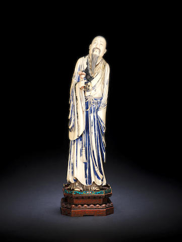 A large ivory standing figure of an Immortal 19th century