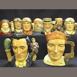 Twelve Royal Doulton character jugs