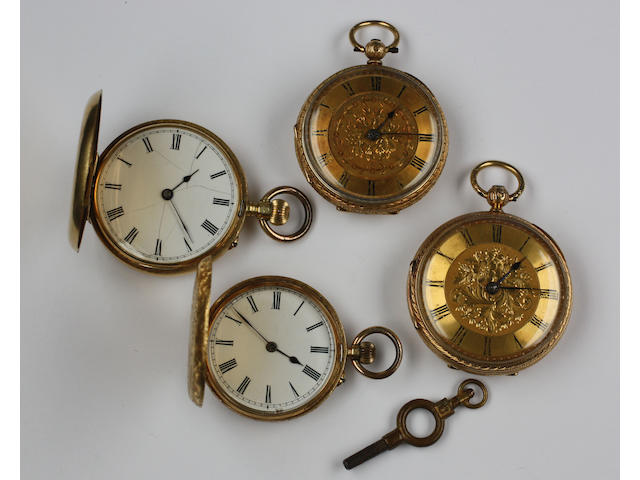 Two 18ct gold open faced pocket watches,
