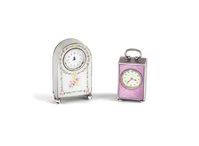 "A cased late 19th / early 20th century Swiss silver and enamel  miniature timepiece, incuse stamped ""Concord W. Co"", ""Argent 0935"", ""Stylo"", ""1253"" and another Continental silver and enamel timepiece.  (2)"