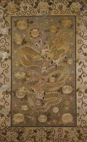 A very fine and large embroidered 'dragon' panel Late Edo/Meiji Period
