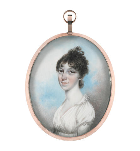 N.  Freese (British, active 1794-1814) A Lady, wearing white dress, her dark hair curled and upswept