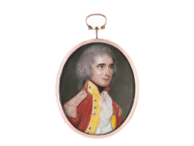 Samuel Andrews (Irish, circa 1767-1807) Major Paul Bose (1765-c.1808), wearing red coatee with yellow facings, silver buttons and epaulettes, white waistcoat, frilled chemise and black stock, his hair powdered