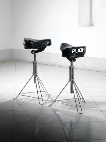 Ron Arad for One Off Ltd, a 'Puch' stool, designed 1981 adjustable moped seat, printed 'PUCH' to the rear and supported on a chrome plated tubular steel base